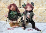 Porcelain Fairy Dolls - Porcelain Fairies Elves - Dolls Elves: Brugo and Rovo, bisque porcelain personage, Height: 21 cm, handmade doll, The price refers to a single doll.