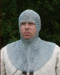 Armours - Medieval Body Armour - Chainmail coif Armor, Medieval Costume Armor, knitted cap, complete protection of the head, freeing up a large part of the face and falls on the shoulders.