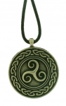 Jewellery - Celtic Jewellery - Triskele, metal pendant with cord. Diameter: 3.2 cm