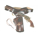 Medieval - Firearms - Revolvers - Gunbelt provided with one holster and shot-holder with inserted bullets. Entirely made in dark leather with seams and burned inserts highlighted in black,