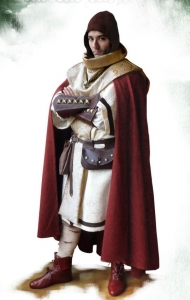 """Costume Cleric, Medieval - Medieval Clothing - Medieval Fantasy Costumes - Costume Cleric, ee gave the monastic-warrior aspect using elements seen in the historical crusaders knights, the """"clerical pallium"""" and the holy seal donates the right holiness to the outfit."""