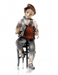 Sibania Porcelain Figurines - Sibania Porcelain Figurines - New - Porcelain figurine, sculpture depicting child musician, height 16.53 in (42 cm). Beautiful statue porcelain handmade in Italy.