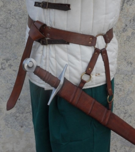 Belt brings sword, Swords and Ancient Weapons - Medieval Swords - Door sword belt leather available in two colors black and brown belt consists of a steel ring and adjustable straps