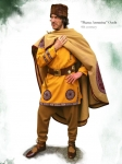 Ancient Rome - Roman clothing - Full Roman outfit (300 - 450 A.D), square Tunica cum clavi and orbicula, Sagum (cloak), Thorsberg trousers footed