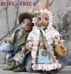 Porcelain Fairy Dolls - Porcelain Fairies Elves - Rabbits peasants Rosy and Friz, bisque porcelain personage,  Height: 28 cm, handmade doll, The price refers to a single doll,