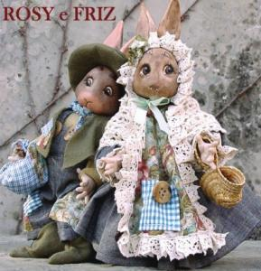 Rabbits peasants Rosy and Friz, Porcelain Fairy Dolls - Porcelain Fairies Elves - Rabbits peasants Rosy and Friz, bisque porcelain personage,  Height: 28 cm, handmade doll, The price refers to a single doll,