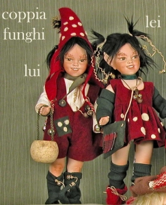 Pair of mushrooms: He - She, Porcelain Fairy Dolls - Porcelain Fairies Elves - Dolls Elves: pair of mushrooms: He - She, bisque porcelain personage, Height: 33/42cm, handmade doll, The price refers to a single doll,
