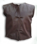 Medieval - Medieval Clothing - Medieval Fantasy Costumes - Leather jacket without sleeves, front closure with laces.