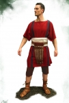 Ancient Rome - Roman clothing - Roman Outfit 1st cent, Full Roman outfit (0 -100 d.c), square Tunica cum clavi (stripes), band ventralis (waistband), braccae (trousers) just-under-the-knee length,
