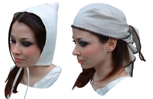 Viking headgear, Medieval - Medieval Clothing - Medieval Women Costumes - These headphones were found at Coppergate, Lincoln and Dublin Materials: Linen