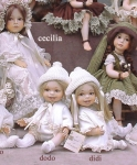 Collectible Porcelain Dolls - Porcelain Dolls - Bisque Porcelain Dolls - Bisque porcelain dolls, sitting, height: 11 in - 28 cm.