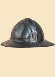 Century Arms Hat, Armours - Medieval Helmets - Hat tile iron round, ribbed in the middle with a band of riveted steel reinforcement and broad-brimmed, used in medieval times.