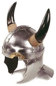 Viking Helmet - Wearable Costume Armor, Armours - Medieval Helmets - Viking helmet dome structure with wedges and strips cross, shaped front, lined cheek pads, neck guard, helmet-horned ox, worn, size 40 x 32 x 26 cm.