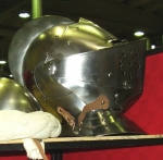Armours - Medieval helmets - Helmet medieval armor - Medieval helmet with hinged visor, worn by men, usually in combination with a full plate.