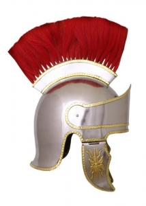 Attic helmet with plume, Ancient Rome - Roman Helmets - Attic helmet with plume, 1.6 mm steel, This complex replica follows the example of helmets worn at 