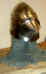 Medieval Bascinet Helmet Hounskull, Armours - Medieval Helmets - Medieval Bascinet Helmet Hounskull  with bearded mask and said beak sparrow, with ventilation holes.