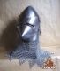 Armours - Medieval Helmets - Medieval Bascinet Helmet Hounskull  with bearded mask and said beak sparrow, with ventilation holes.