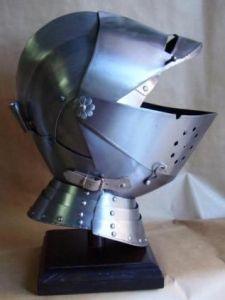 Helmet medieval armor, Armours - Medieval Helmets - Medieval helmet with hinged visor, worn by men, usually in combination with a full plate.