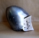 Armours - Medieval Helmets - Medieval Combat Helmet with hinged visor. Openable also from the bottom. equipped with adjustable leather inner shell to be worn comfortably.