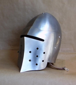 Medieval Combat Helmet, Armours - Medieval Helmets - Medieval Combat Helmet with hinged visor. Openable also from the bottom. equipped with adjustable leather inner shell to be worn comfortably.