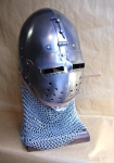 Armours - Medieval Helmets - Klappvisor Bascinet combat helmet battle ready with folding front mask with removable visor and retractable.