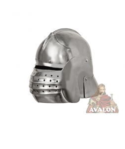 Medieval Italian Knight Helmet, Armours - Medieval Helmets - Medieval Italian Knight Helmet, Helmet Horse fourteenth century used with the armour, equipped with mobile shield with slit for the eyes, ventaglia mounted on pivot pins and equipped with ventilation holes.