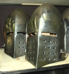 Armours - Medieval helmets - Medieval Combat Helmet - Medieval Combat Helmet with hinged visor. Openable also from the bottom. Equipped with separate padded bonnet.