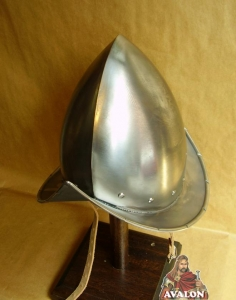 Pointed Helmet Morion, Armours - Medieval Helmets - Pointed Helmet Morion, fully worn by infantry, armor, skull-profile sleeve, but without crest terminating in a tip with narrow straight brim.