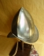 Armours - Medieval Helmets - Pointed Helmet Morion, fully worn by infantry, armor, skull-profile sleeve, but without crest terminating in a tip with narrow straight brim.