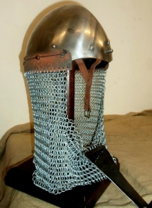 Norman Nasal Helmet, Armours - Medieval Helmets - Norman Nasal Helmet with nasal removable, chainmail (IX - XIII Century), used in the Middle Ages. Made entirely of wrought iron hand.