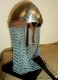 Armours - Medieval Helmets - Norman Nasal Helmet with nasal removable, chainmail (IX - XIII Century), used in the Middle Ages. Made entirely of wrought iron hand.