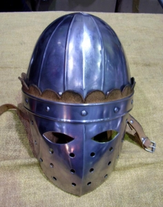 Norman helmet with mask, Armours - Medieval Helmets - Norman helmet with mask semi-spherical crown and leather, to protect the head and face, made handmade steel.