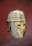 Ancient Rome - Roman Helmets - Roman Face Helmet, Roman Cavalry helmet solid brass face mask hinged at the top Made of steel with brass accents cheek pieces that fully cover ears.