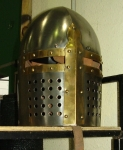 Armours - Medieval helmets - Helmet Templar - Helmet Templar with golden cross in complete protection of the head, used by heavy cavalry.