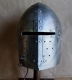 Armours - Medieval Helmets - Knights templar helmet with hinged visor. Openable also from the bottom.  Equipped with adjustable leather inner shell to be worn comfortably.