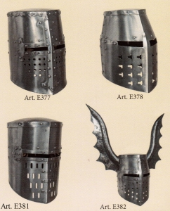 Helmets Knights Templar, Armours - Medieval Helmets - Helmets from Knights Templar, head protection flattop and tile-shaped pavilion with wraparound shoeing reinforced cross in various forms.