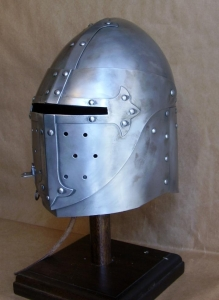 Medieval Combat Helmet, knights templar helmet, Armours - Medieval Helmets - Knights templar helmet with hinged visor. Openable also from the bottom.  Equipped with adjustable leather inner shell to be worn comfortably.