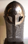Armours - Medieval Helmets - Viking Helmet and chainmail drape in Steel; Leather Trim - Wearable Costume Armor. Viking helmet with mask semi-spherical, with a metal mask to protect the eyes and nose, made entirely of iron, handmade with the application of a headset.