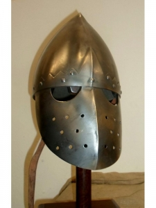 Medieval Italo-Norman Helmet, Armours - Medieval Helmets - Medieval Italo-norman helmet with face guard. Norman Helmets medieval combat,  All of our historical reproductions of helmets in the Middle Ages, are forged by hand from a sheet of steel