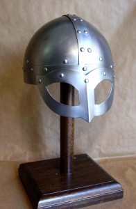 Viking Helmet - Wearable Costume Armor, Armours - Medieval Helmets - Viking Helmet, leather Trim, wearable Costume Armor. Viking helmet with mask semi-spherical, with a metal mask to protect the eyes and nose, made entirely of iron, handmade, worn to intimidate enemies in combat.  It is a magnificent armor helmet.