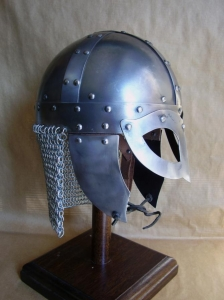 Viking Helmet Gjermundbu, Armours - Medieval Helmets - Viking Helmet Gjermundbu and chainmail drape in Steel; Leather Trim. Viking helmet with a metal mask to protect the eyes and nose, made entirely of iron, handmade with the application of a headset.