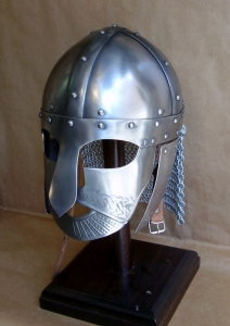 Norman helmet, Armours - Medieval Helmets - Norman Helmet semi-spherical, with a metal mask to protect the eyes and nose, made entirely of iron, handmade with the application of a headset.