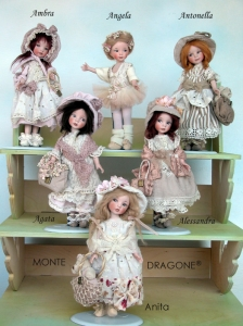 Anita, Angela, Antonella, Alessandra, Agata, Ambra, Collectible Porcelain Dolls - Porcelain Dolls (New) - Collectible dolls porcelain bisque, height 21 cm.(8.3 in)