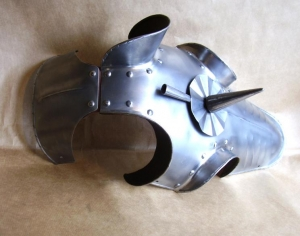 Medieval Horse Armor - Chamfron, Armours - Medieval Body Armour - Medieval Horse Armor (Chamfron) head protection of the medieval armored horse. Part of horse armor, armor that covered a horses head and face,