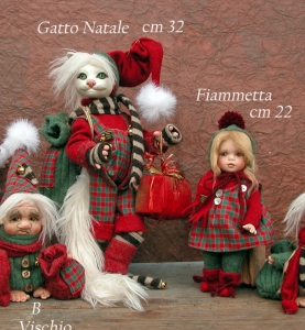 Cat Christmas Porcelain, Porcelain Fairy Dolls - Porcelain Angels Dolls - Character collectible porcelain bisque, height: 32 cm
