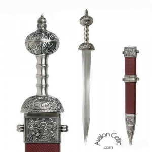 Roman Gladius, Ancient Rome - Roman swords - Red Roman Gladius, Sword, weapon of Roman soldiers, short double-edged sword with wide blade and very sharp. Dimensions: 80 cm.