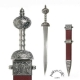 Ancient Rome - Roman swords - Red Roman Gladius, Sword, weapon of Roman soldiers, short double-edged sword with wide blade and very sharp. Dimensions: 80 cm.