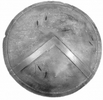 Ancient Rome - Greek Armour - Shield of the legions of Thermopylae. Wooden shield. Diameter 86 cm.