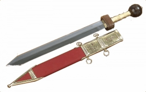 Roman Gladius, Ancient Rome - Roman swords - Roman Gladius parallel wires and short tip, pommel spheroid and anatomic handle.