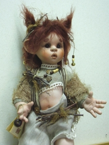 Kirin, Porcelain Doll, Porcelain Fairy Dolls - Porcelain Fairies Elves - Doll elf: Kirin, bisque porcelain personage. Height: 35cm, handmade doll, Collection Montedragone. The price refers to a single doll: Kirin.